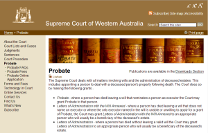 Link to Probate Division of the Supreme Court of WA